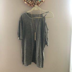 Lane Bryant Cold Shoulder Shirt in Olive Green